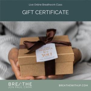 Gift Certificate - Live online breathwork classes with Jon Paul Crimi